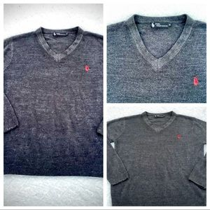 POLO RALPH LAUREN Pullover Charcoal Gray Red Logo